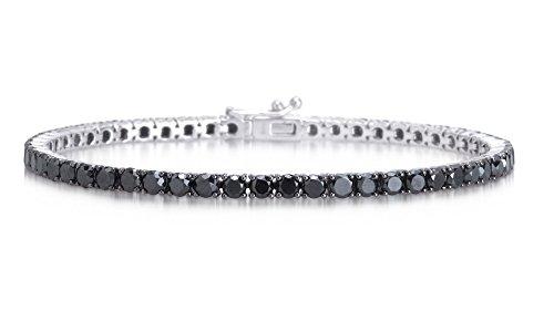 Bracciale tennis uomo donna in argento 925% rodiato con zirconi neri taglio diamante 18 cm