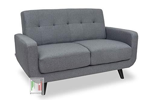 Stil sedie - divano 2 due posti tessuto moderno imbottito con braccioli modello boston (grigio)