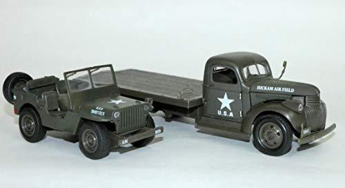 New Ray LKW Tablett Chevy 1941 & Jeep Willys Die cast, 61053 BSS, grün