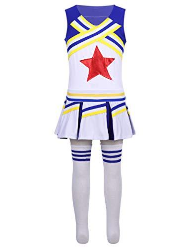 Kostüm Kinder Cheer - Freebily Cheer Kostüm für Mädchen Kinder Cheerleading Uniform Kostüm Karneval Fasching Party Halloween Dancewear Verkleidung Kostüm Blau 152-164/12-14Jahre
