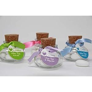 Korkenglas Gastgeschenk zur Kommunion, Konfirmation, Firmung, Taufe personalisiert - Geschenke für Gäste - Taufgeschenke