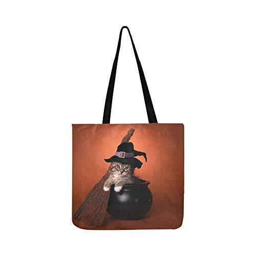 Lustige Halloween-Hexe unter dem Motto Kätzchen Canvas Tote Handtasche Schultertasche Crossbody Taschen Geldbörsen für Männer und Frauen ()