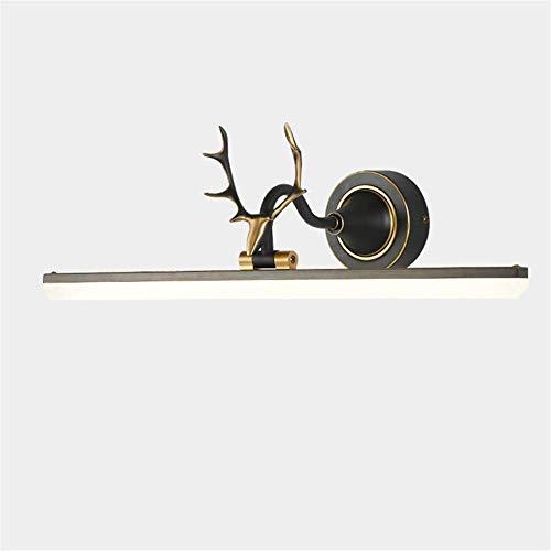 8 Lampe Vanity Licht (Spiegelleuchte Vintage Schwarz Messing Kreative Geweih Badezimmer Beleuchtung LED Bad Wandschrank Lampe Vanity Make Up Acryl Maskenschirm Vollkupfer Einstellbarer Winkel Warmweißes Licht,53cm)