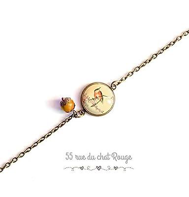 bracelet chaine fine bronze, Illustration Japonaise, petit oiseau, délicat, romantique, beige et orange