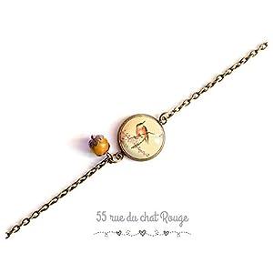 Armband feine Bronzekette, japanische Illustration, kleiner Vogel, zart, romantisch, beige und orange