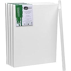 Artina Akademie certificación FSC® Set de 5 Lienzos - 30x40 cm 100% algodón Lienzo y Bastidor Blancos - 280g/m² - no se deforma