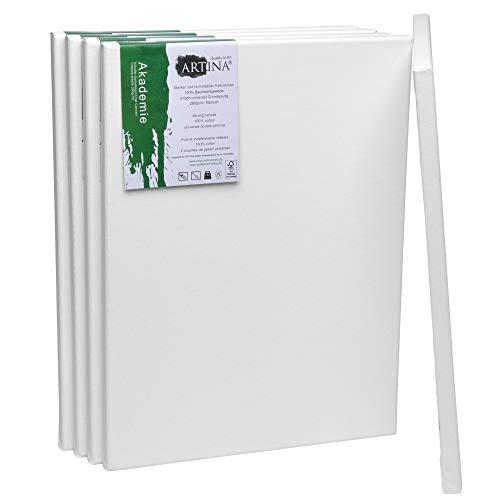 n Akademie 30x40 cm 5er Set - Aus 100% Baumwolle Leinwand Keilrahmen weiß - 280g/m² - verzugsfrei ()