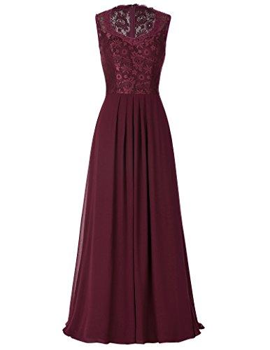 Damen lang evening dress abendkleid ärmellos sommerkleid geburtstag kleid hochzeitskleid Größe 46 KK202-3 (Abendkleid Formalen Kleid)