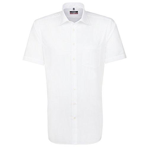 Seidensticker Herren Businesshemd Modern Kurzarm mit Kent-Kragen Bügelfrei, Weiß (Weiß 1), X-Large (Herstellergröße: 44) (Kragen Mit Kurzarm-hemd Weißes)
