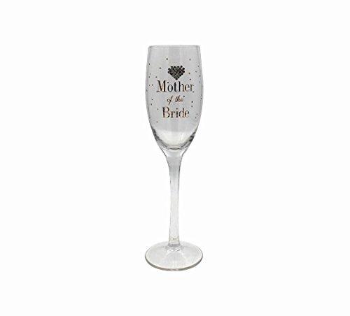 Flûte à champagne pour mère de la mariée - Dorée et avec un cœur diamanté