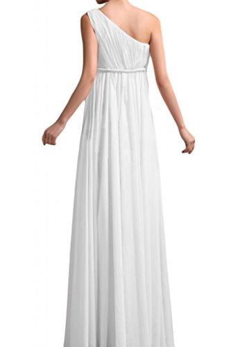 Gorgeous Bride Beliebt Ein-Traeger Rabatte Empire Lang Chiffon Brautjungfernkleider Cocktailkleider Partykleider Weiß