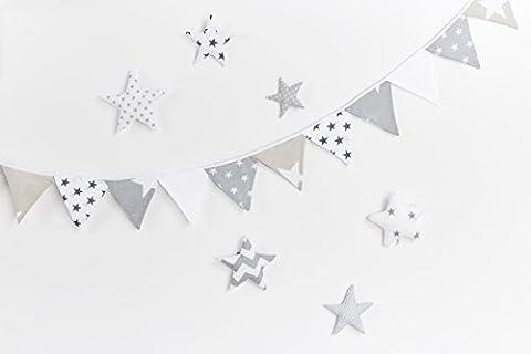 KraftKids Dekoration Wimpelkette Sterne weiss beige grau