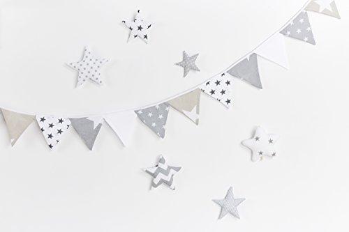 Preisvergleich Produktbild KraftKids Dekoration Wimpelkette Sterne weiss beige grau