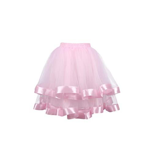 TENDYCOCO Frauen Geschichteten Tutu Rock elastische Taille Prinzessin Mesh Tüll Midi Rock für Kostüm Cosplay Partys - Größe m (rosa)