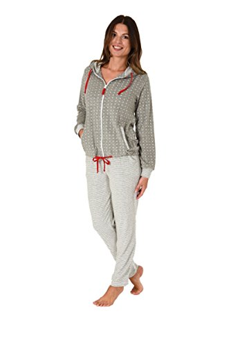 NORMANN WÄSCHEFABRIK Damen Frottee Hausanzug Sternedesign Homewear Loungewear - auch in Übergrössen bis 60/62, Größe:36/38;Farbe:Tupfen grau
