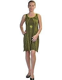 Frauen grünen ärmellos patch-Kleid - CHAKRA