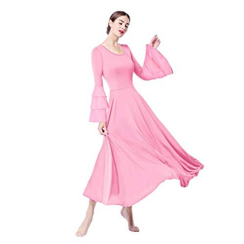6fd12af38a04 OBEEII Donna Vestito Liturgico Manica Lunga Abito da Balletto Ginnastica  Body Classico Danza Combinazione Chiesa Preghiera