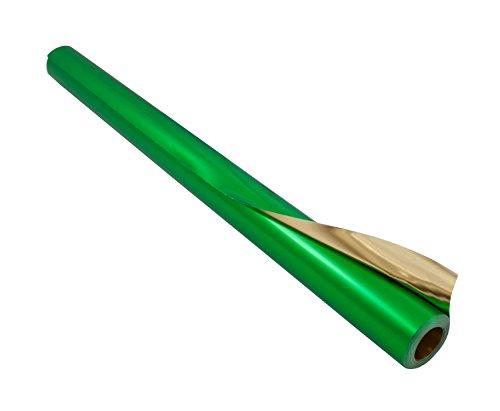 folia R 15 - Alufolie auf Rolle, doppelseitig kaschiert, ca. 50 cm x 10 m, grün / gold - ideal zum Basteln und  Verpacken