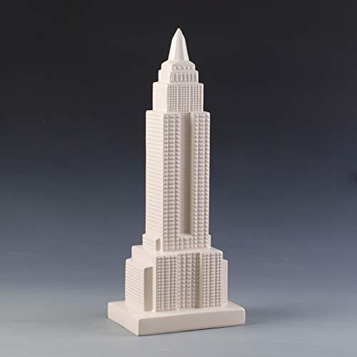 GE&YOBBY Harz-geldbox,einfaches Modernes Empire State Building Modell Sparschwein Kreative Sparkasse Für Zu Hause Tischdekoration weiß 20x14x51cm(8x6x20inch) (Empire Building-modell State)