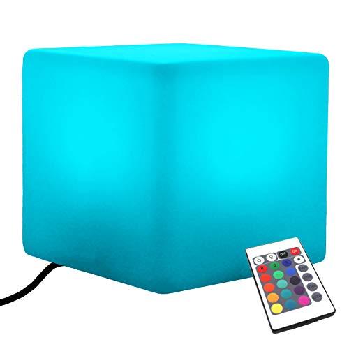 PK Green Erstklassiger LED Würfel Sitz Sitzhocker 40x40 cm | Netzbetriebene E27 RGB Stimmungsleuchte mit Fernbedienung | Stehlampe Beistelltisch Tisch Möbel Modern Wohnzimmer (Glühbirne Installiert)