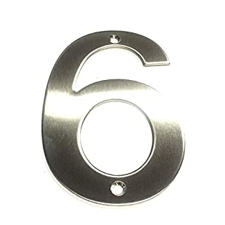 ASC SCREW ON HOUSE NUMBERS - NUMBER 6 (Six) - Brushed Stainless Steel House/Door Number 10cm Tall