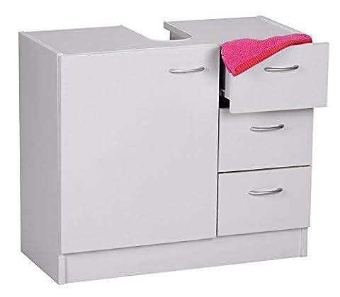 Wohnling WL1.345 Bad Waschbecken Unterschrank 1 Tür, 3 Schubladen, 54 x 63 x 30 cm, weiß