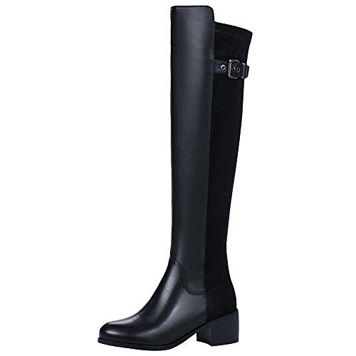rismart Damen über dem Knie Hoch Reißverschluss Winter Stilvoll Leder Stiefel SN02925(Schwarz,EU40.5) (Leder Hoch Knie)