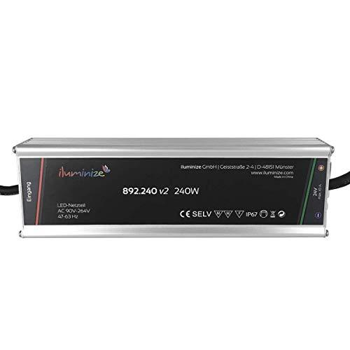 iluminize LED-Netzteil: hochwertiges & leistungsstarkes LED-Netzteil Aluminium 24V, 240W, IP67, brummfrei, laststabil, Anschlusskabel 35cm ohne Stecker (24V 240W)