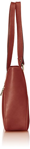 CTM Borsa Donna Hand, Schultertasche Elegant, 34x23x10cm, echtes Leder 100% Made in Italy Braun (Marrone)