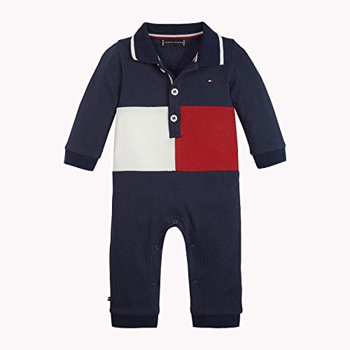 Tommy Hilfiger Unisex Baby Boy Flag Polo Coverall L/S Strampler, Blau (Black Iris/Multi 002), 92 (Herstellergröße: 80)
