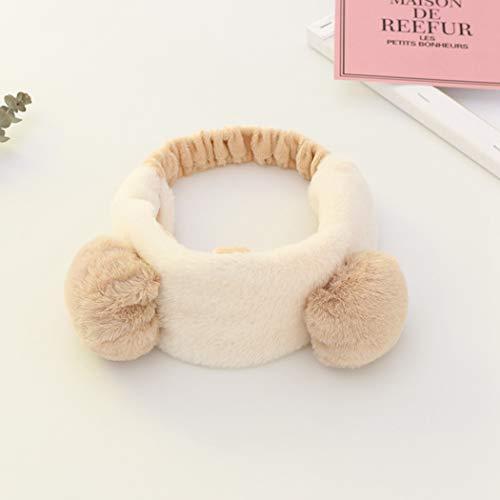 CFADAI Gesicht Waschen Stirnband Haarbänder,Haarband Niedlichen Bären Ohren Haarband Plüsch Make-Up Waschen Haarband Mode Haarschmuck Beige Damen Make-Up Stirnband Maske Haarband