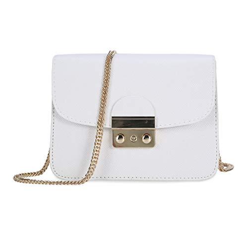 Damen Umhängetasche Kleine Schultertasche Kette Tasche Clutch Mini Vintage Citytasche für Hochzeit Party Disko - Weiß