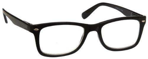 UV Reader Negro Gafas de Lectura Estilo Wayfarer Hombres Mujeres Inc Caso UVR023 Dioptria +1,00