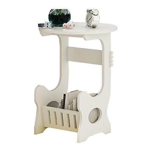 M-JH Table d'appoint, Table Basse de Table d'appoint de Table d'extrémité Ronde, Facile à Assembler côté canapé avec étagère de Rangement (Taille : A)