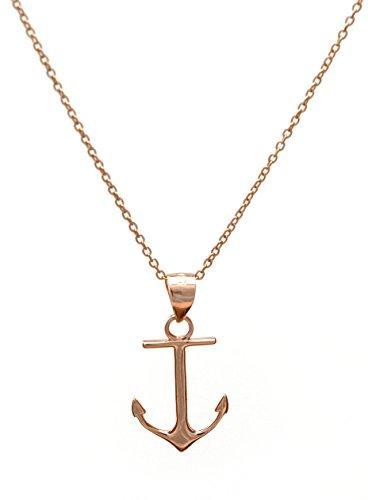 Ancla Colgante con Collar | todo en plata de ley 925 | en los colores plata, oro, oro rosa | by Serebra Jewelry (Oro rosa)