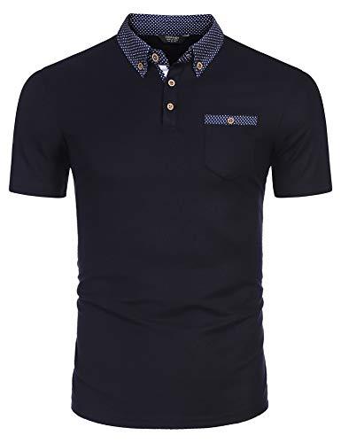 Qioti Herren Tshirt Poloshirt Kurzarm Polohemd Regular Fit Männer Shirt Sommer, M, Marine Blau