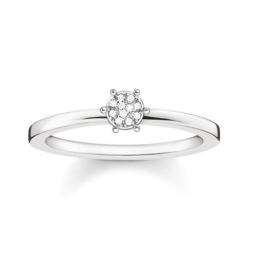 Thomas Sabo Damen-Ring Glam & Soul 925 Silber Diamant (0.05 ct) weiß Gr. 54 (17.2) - D_TR0012-725-14-54