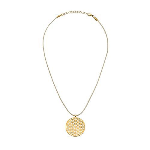Halskette Blume des Lebens Anhänger für Damen vergoldet - 5 G Protect - 3,5 cm Durchmesser - 39 cm lang - Edelstahl Kettenanhänger - Frauen Schmuck Amulett