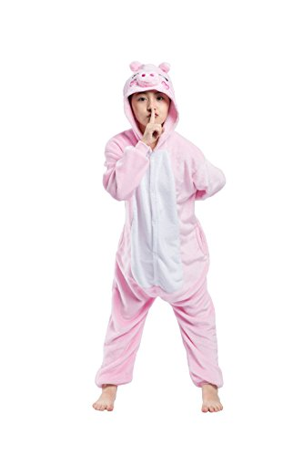 der Niedliche Cartoon Rosa Schwein Ein Stück Kapuzen Strampelanzug Schlafanzug Cosplay Kostüm Nachtwäsche 120cm (Halloween Kostüme Etsy)