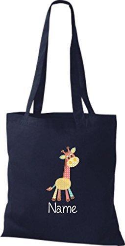 Borsa di stoffa con DOLCE FANTASIE incl. NOME PERSONALIZZABILE Giraffe Blu marino