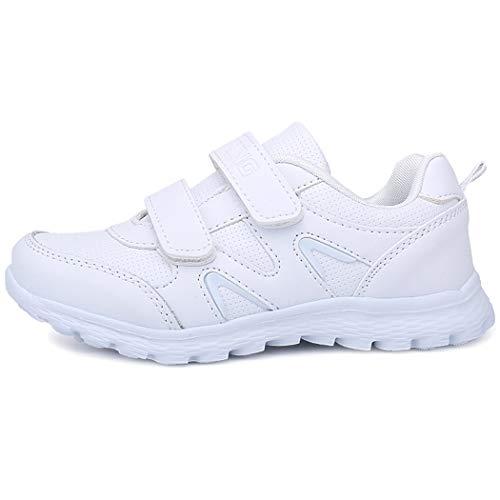 Velukin Zapatillas Deportivas Unisex para Niños Transpirables Zapatillas de Running,Blanco,37EU
