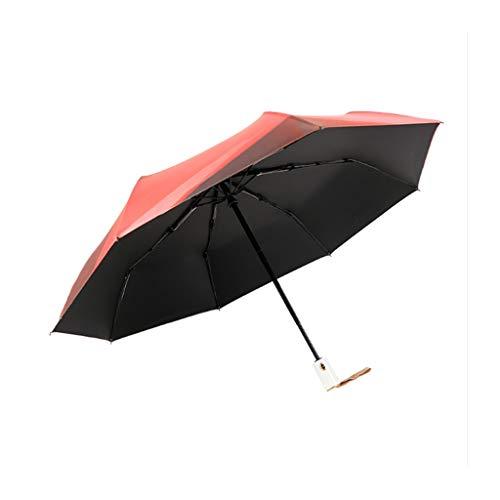 DMCC Paraguas Anti-UV, Tres Interruptores Automáticos Plegables, Paraguas De Plástico, Negro, Lluvia...