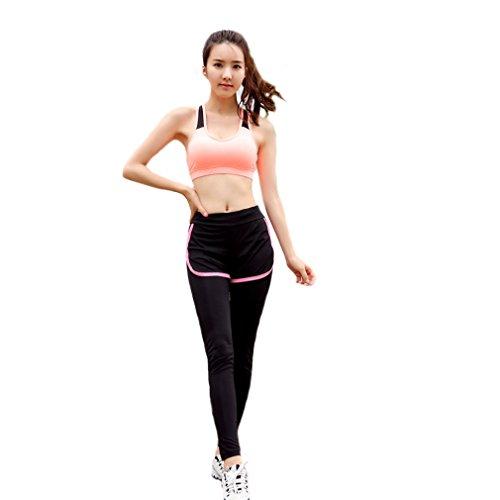 REALLION Set da yoga da donna 2 pezzi (reggiseno sportivo + pantaloni) Abbigliamento sportivo da palestra da palestra ad asciugatura rapida Arancione