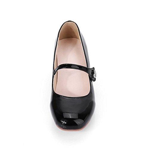 TAOFFEN Damen Mode Mid Blockabsatz Mary Janes Pumps Schwarz