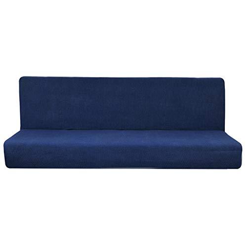 Fenteer Cubierta de Sofá Sin Brazo Color Sólido Plegable Antideslizante del Futón para Banco Sofá de Patio - Azul Oscuro s