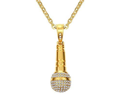 Vnox Männer Frauen Gold überzogene Edelstahl Rhinestone Mikrofon Anhänger Halskette Hip Hop Schmuck