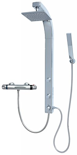 Duschpaneel Brausepaneel Duschsäule Duschsystem Komplettdusche Thermostat Armatur große Regendusche mit 2 Massagedüsen, aus hochwertigem Kunststoff Handbrause Duschkopf Duscharmatur Wandmontage Anschluss an Brauseschlauch in Chrom 081cp-T