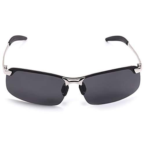 Hethrone Retro Polarized Sonnenbrille Rechteckigen Metallrahmen Outdoor Brille UV 400 Schutz für Männer CB-10
