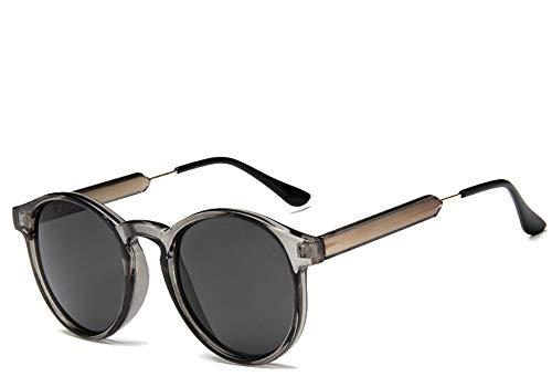 FUZHISI Sonnenbrillen Retro Runde Sonnenbrille Damen Herren Transparent Damen Sonnenbrille Herren, grau