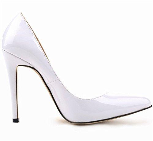Wealsex Escarpins Vernis PU Cuir Talon Aiguille Bout Pointu Talons 11 CM Femme Blanc